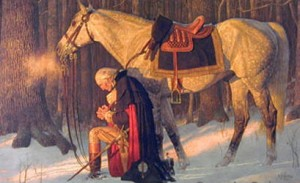 George Washington General and President Praying Beside his Horse